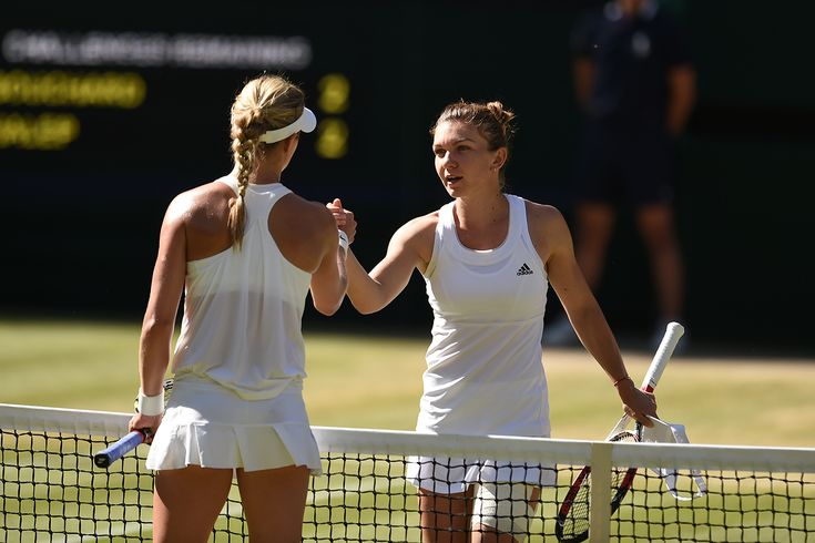 Eugenie Bouchard and Simona Halep shake hands after their match - Billie Weiss/AELTC