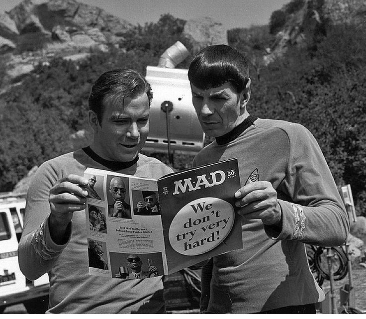 William Shatner & Leonard Nimoy: Leonardnimoy, Mad Magazines, Stars Trek, Reading Mad, Williams Shatner, Kirk, Leonard Nimoy, Startrek, Spock