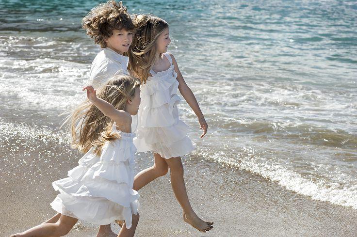 Vestido blanco de volantes verano 2015