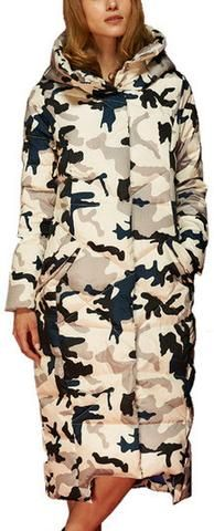 Long Camouflage Puffer Down Coat