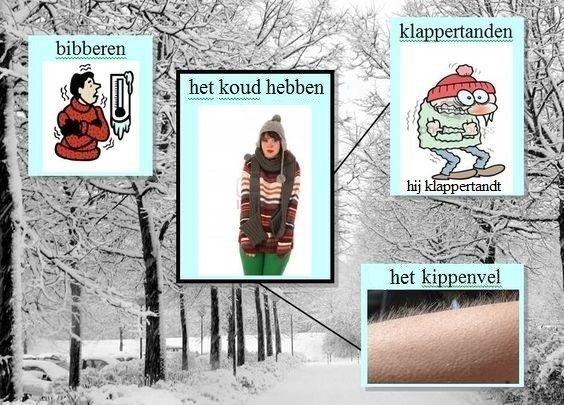 ❄️Thema : de winter.❄️ Woordenschat : bibberen, het koud hebben, klappertanden, het kippenvel ❄️ http://woorden.wiki.kennisnet.nl/Bestand:Koud_1_2.jpg