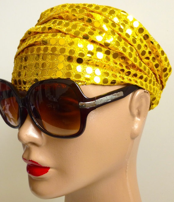 Bright Yellow Glitter Head Bandana  Stylish by ShawlsandtheCity, $12.00