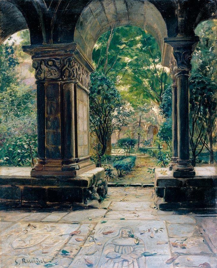 Santiago Rusiñol (Catalan, 1861-1931) Poblet Monastery. Oil on canvas, n.d.