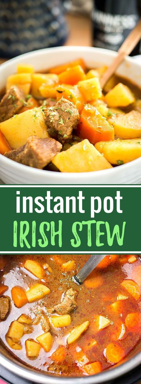 This Instant Pot Irish Stew is the perfect simple and hearty meal for cold days! An easy to make Beef and Guinness Stew that is tender and flavorful.