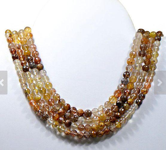 Rutile Quartz Gemstone Beads