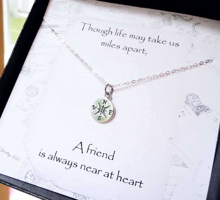 Friendship Quotes Jewelry: Compass Necklace, Friendship Card, Silver Compass Charm