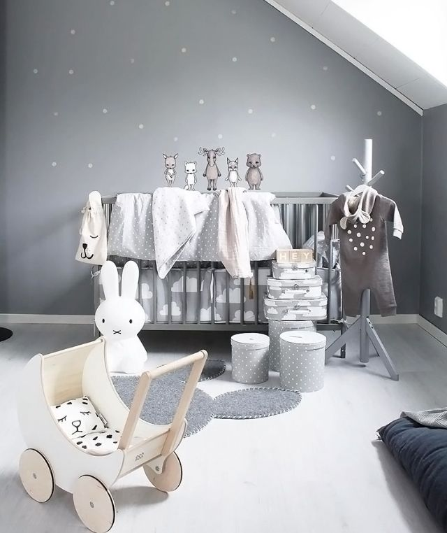 A cute kid's room by @stickystay, Ooh Not toy pram and Miffy lamp are all available at www.istome.co.uk