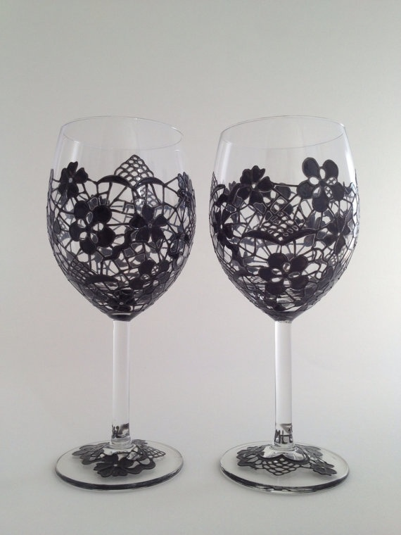 SALE Pair of Black Lace wine glasses by ToastedGlass on Etsy, £30.00  #Lace
