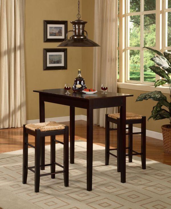 Small Dining Set Table Bar Stools Espresso Card Tavern Chairs Pub Breakfast 2