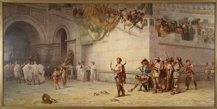 Έντουιν Χόουλαντ Μπάσφιλντ, Ο αυτοκράτορας Κόμμοδος αποχωρεί από την αρένα επικεφαλής των μονομάχων, 1878, λάδι σε καμβά, 123,2 x 231,1 cm, Συλλογή Σλόαν, Ερμιτάζ Μουσείο και Κήποι, Νόρφολκ, Βιρτζίνια.