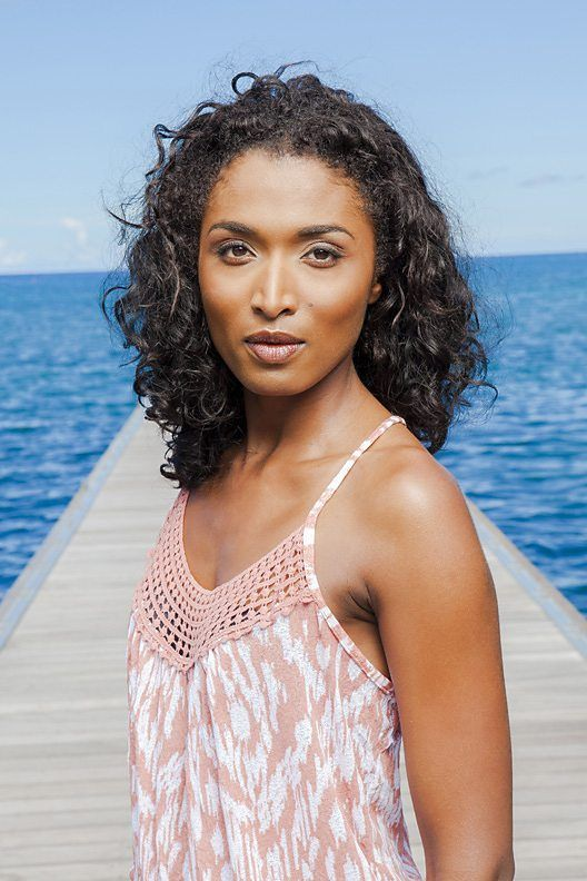 "Actress Sara Martins as Camille in the BBC One show ""Death In Paradise""."