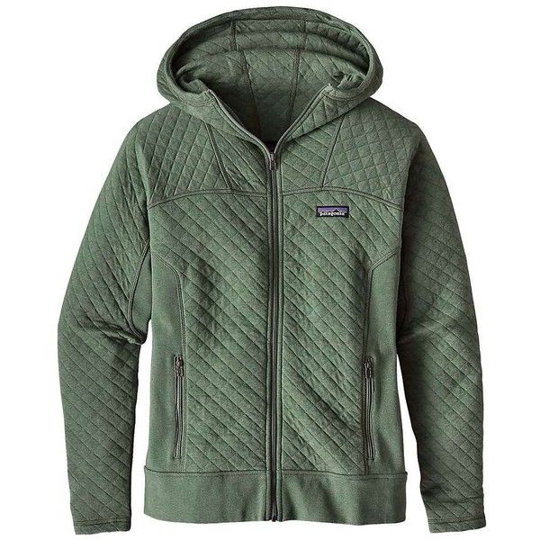 Patagonia Women's Cotton Quilt Hoody ($149) ❤ liked on Polyvore featuring tops, hoodies, hemlock green, patagonia hoody, cotton hoodie, patagonia hoodie, hooded pullover and sweatshirt hoodies