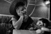 Nina Hagen  with her daughter Cosma Shiva, 1984. Breakfast at Amaranten Hotel in Stockholm