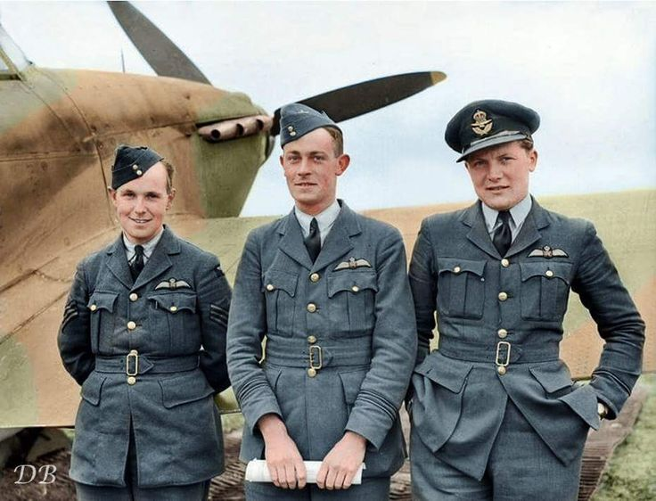 April 1940 Sgt Lionel S Pilkington, F/L Reginald E 'Unlucky' Lovett and F/O Newell 'Fanny' Orton of No 73 Squadron RAF, standing by a Hawker Hurricane Mk.1, enjoying a brief respite from operations at Reims-Champagne, Bétheny, France in April...