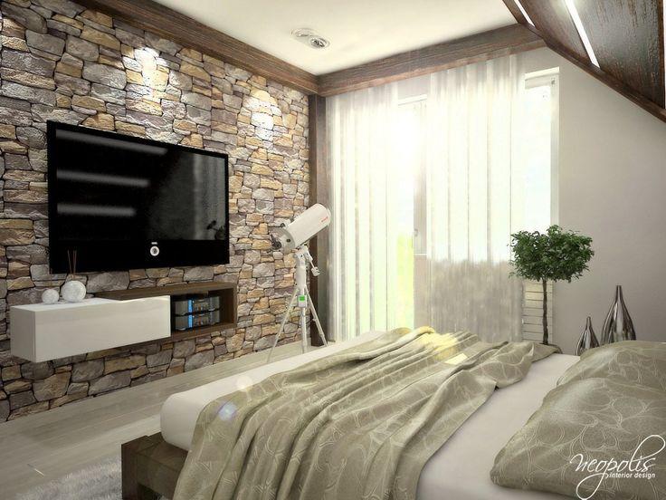TV v spálni - Interiér domu s použitím prírodných materiálov