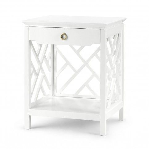 THE WELL APPOINTED HOUSE - Luxuries for the Home - THE WELL APPOINTED HOME Bungalow 5 Nantucket Chippendale Fretwork 1-Drawer Side Table in White