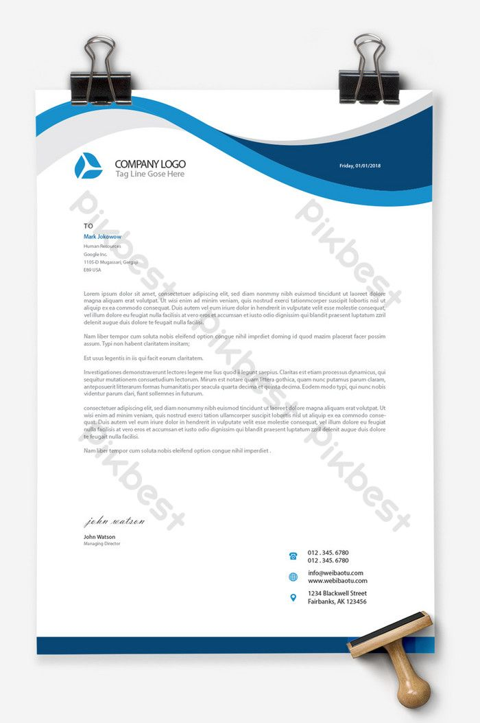 Business Blue Ai Word Document Background A4 Stationery Template Download Word Ai Free Download Pikbest