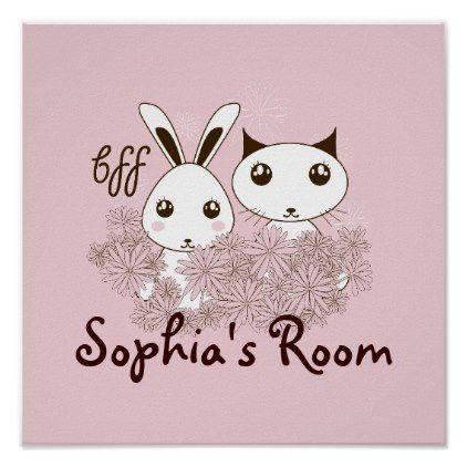 Cute Bunny and Kitten Cartoon Girls Room Kids Poster
