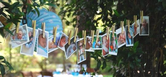 baby naming day photo garland, put photos of all the relatives as a baby and guess who is who
