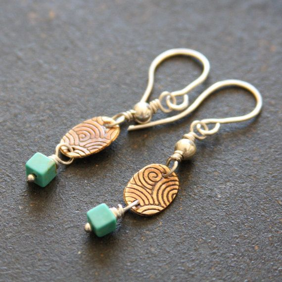 Turquoise Mixed Metal Dangle Earrings // by RELMoriginals on Etsy