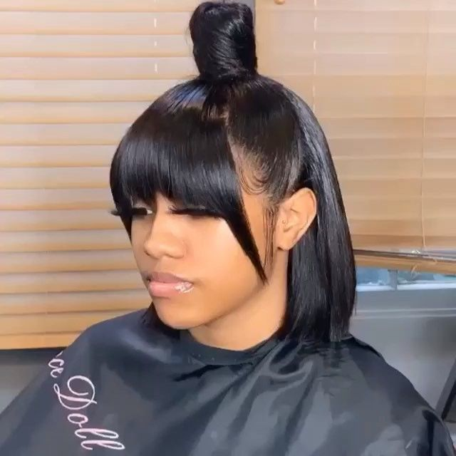 Frontal Quickweave X Bangs Bun Tag Someone Who Would Wear This And Follo Quick Weave Hairstyles Hair Styles Curly Hair Styles