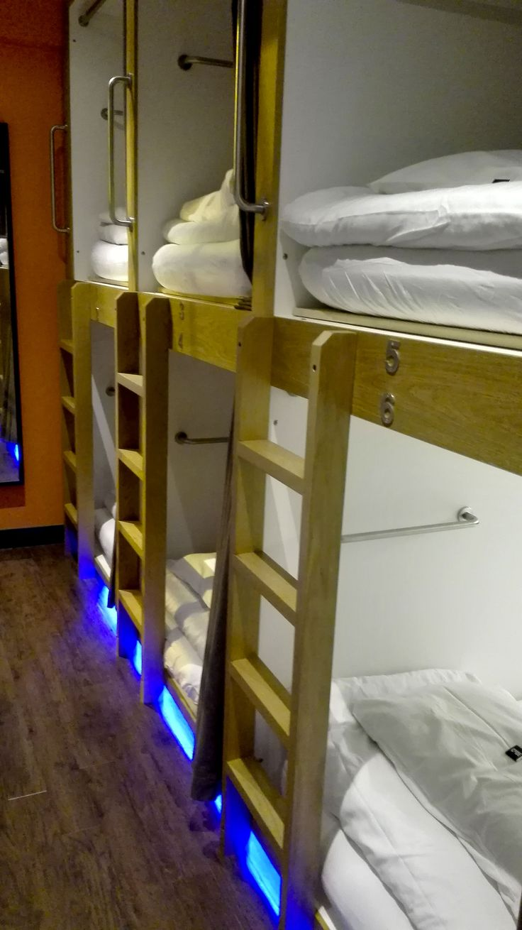 Looks like a japanese capsule hotel, but it's the coolest hostel ever, and it's in Scotland... It's the Code Hostel in Edinburgh, and I loved it!