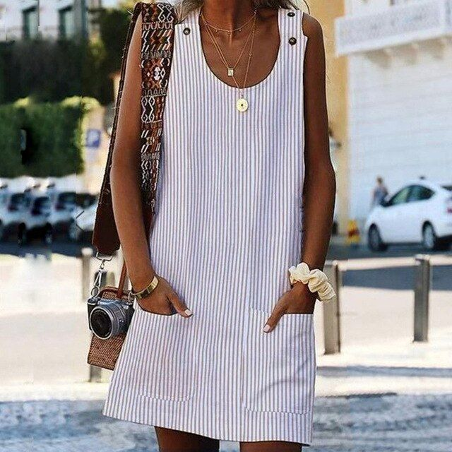 Vestidos women's dress spring summer dress crew neck women dresses shift daily casual button plain cotton dresses