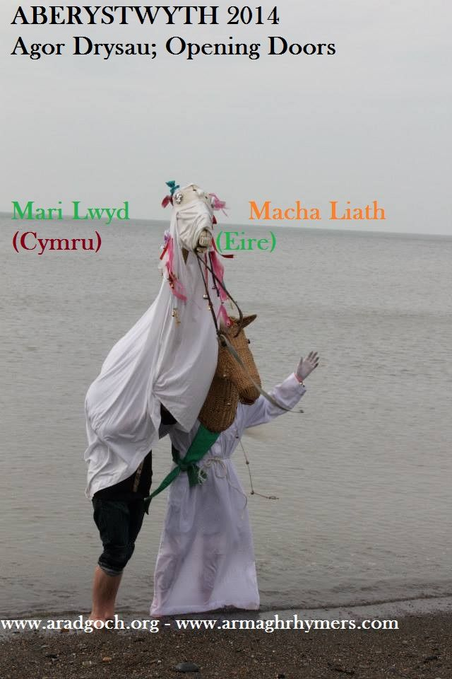 "The Welsh horse (Mari Llywd) and Irish horse (Macha Liath) take to the Irish sea at Ceriddigion Bay for 25th International Welsh Theatre Festival ""Agor Drysau: Opening Doors"" hosted by Arad Goch Theatre, Aberystwyth"