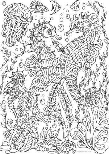 Ocean Life Sea Horses Under The Sea Coloring Pages For