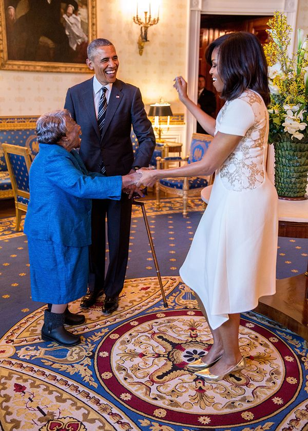 President Obama meets Virginia McLaurin, 106 year old lady who wanted to meet them and dance with them!
