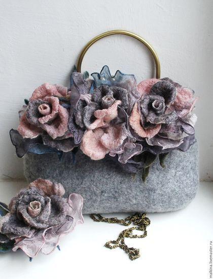 Женские сумки ручной работы. Ярмарка Мастеров - ручная работа. Купить Серая сумочка с цветами. Handmade. Серый, небольшая сумочка