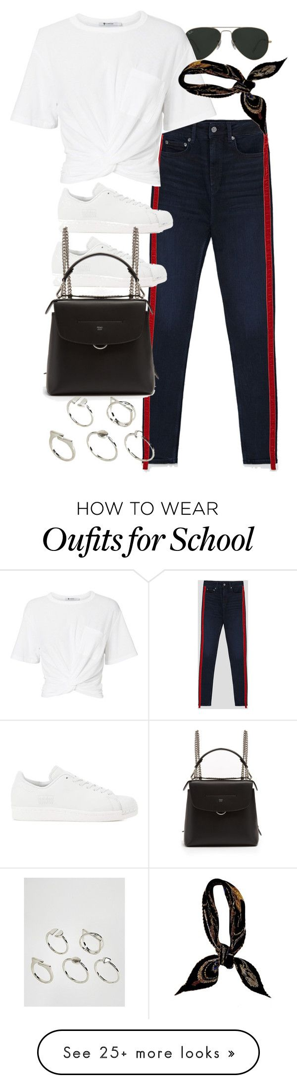 """""""Untitled #11265"""" by nikka-phillips on Polyvore featuring Ray-Ban, T By Alexander Wang, adidas Originals, Fendi, Hermès and ASOS"""