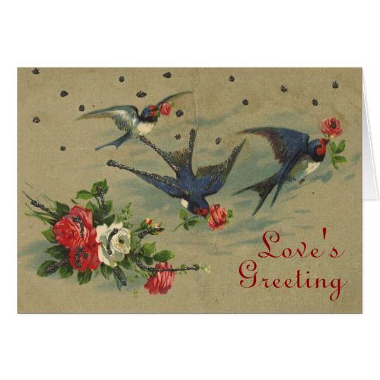 Bluebird's Vintage Valentine Card