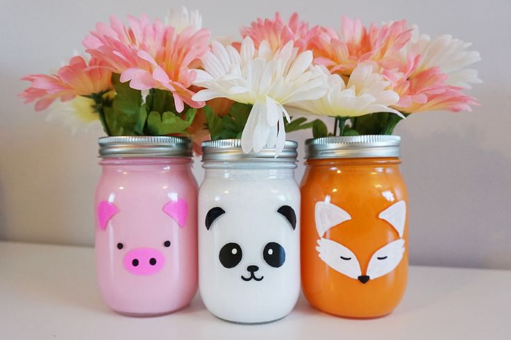 Animal Mason Jar (1) painted mason jar, panda jar, fox jar, pig jar, birthday party decor, kids party centerpieces , animal party, zoo decor by LittleSomethingsGift on Etsy https://www.etsy.com/listing/521874091/animal-mason-jar-1-painted-mason-jar