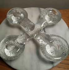 Stunning Scandinavian Pukeberg Glass 4 Candle Holder