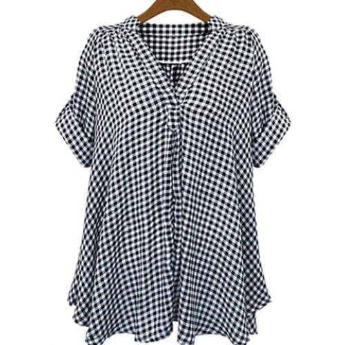 Plus Size Stand Up Collar Shirt