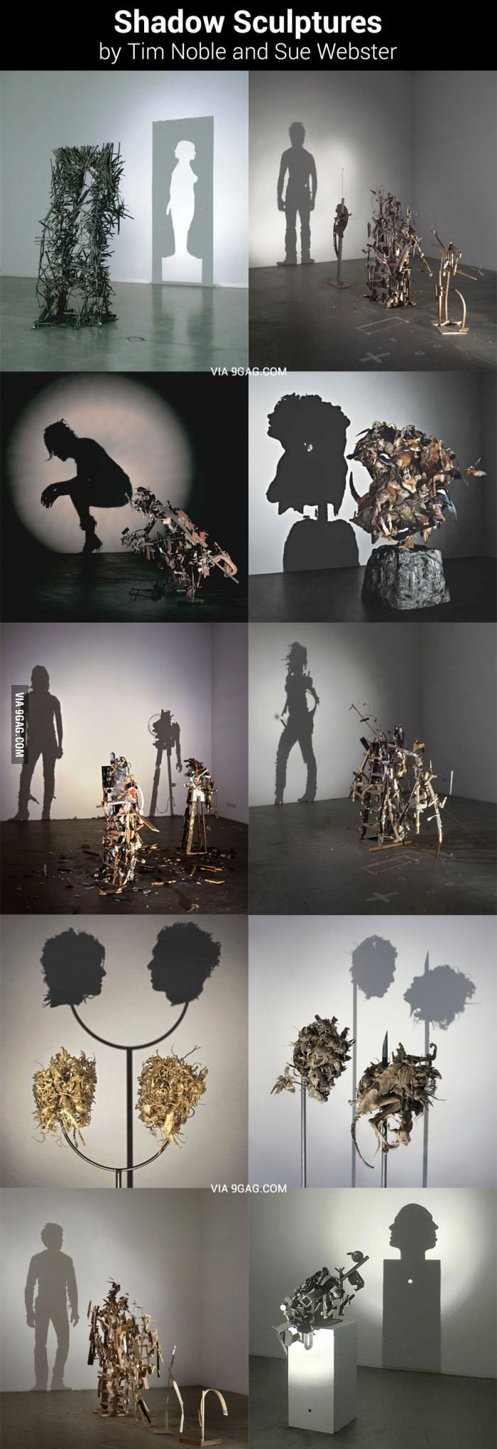 I like how different these pieces are. I think it's interesting how they draw interest to the shadow instead of the form itself. I also like the use of found objects.