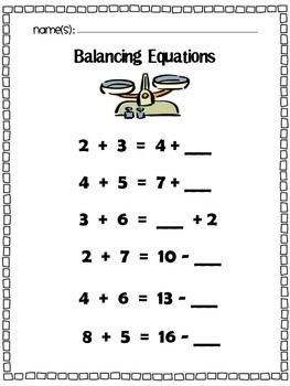 Balancing Equations: Missing Addend, Addition, & Subtraction: