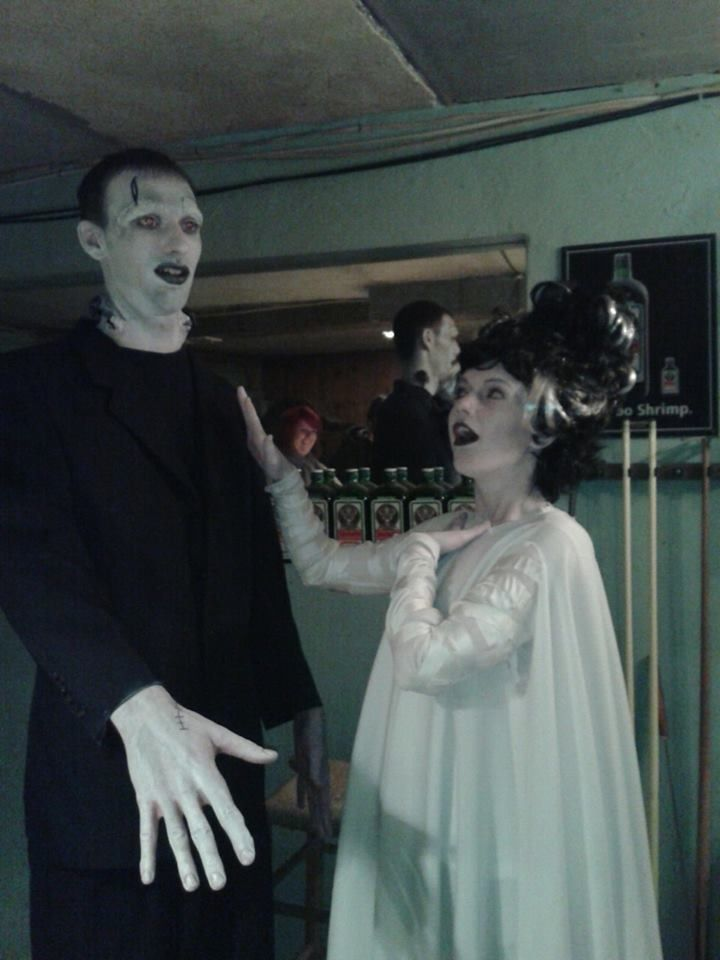 adult couple diy homemade halloween costume frankenstein bride of frankenstein black and white grayscale makeup