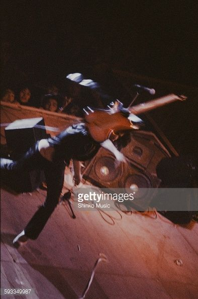Rainbow Ritchie Blackmore throwing guitar on stage at Nippon Budokan Tokyo…