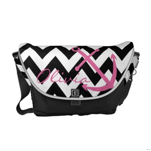 Black and White Chevron Pink Anchor Diaper Bag Messenger Bag