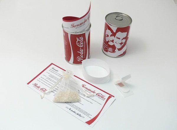 """Invitación de boda diferente con diseño de lata de refresco (hay varios modelos de """"marca"""")"""