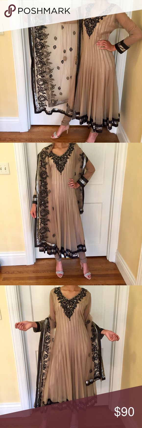 """[NEW] Indian / Pakistani Anarkali (Beige & Black) Need to go to a desi wedding? This is a great dress that is lightweight, easy to wear, and classy at the same time. It's brand new. Adaptable fit and fabric. Falls very nicely.  Approximate measurements: Chest=38"""", Waist=34"""", Hips=42"""", Length=50"""". Ships same or next business day. Let me know if you have any questions at all  Dresses"""
