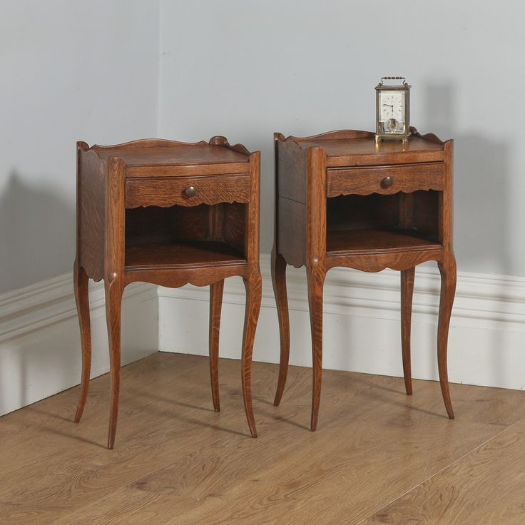 Antique Pair of French Louis XVI Style Oak Serpentine Bedsides (Circa 1920)