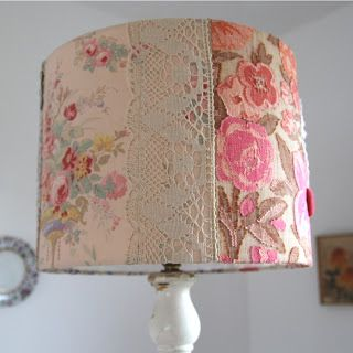 lampshade with fabric and lace