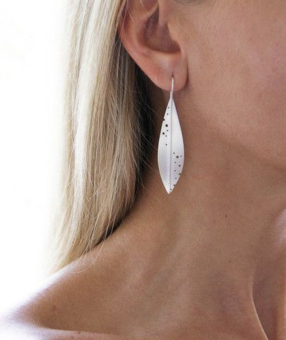 Large Sterling Silver Leaf Earrings - Statement Earrings – tothemetal