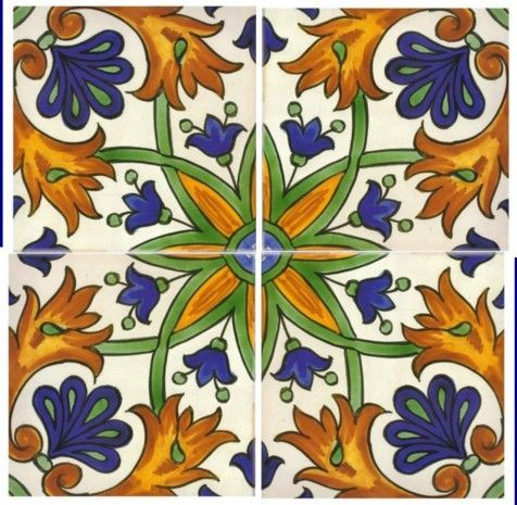 Hand painted Spanish tiles.  Potential back splash! Sintra Antique Handpainted, Portuguese, Tiles - A2-Spanish design tiles - 326-Zaragoza 4 tile design