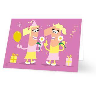 Een verjaardagskaart voor een meisje dat 11 is geworden. Op de kaart staan twee poppetjes in de vorm van het cijfer 11. Beide meisjes hebben blonde haren. De achtergrondkleur is roze. De binnenkant van deze verjaardagskaart is helemaal wit, daar kun je zelf nog teksten en foto's of allerlei leuke afbeeldingen aan toevoegen.