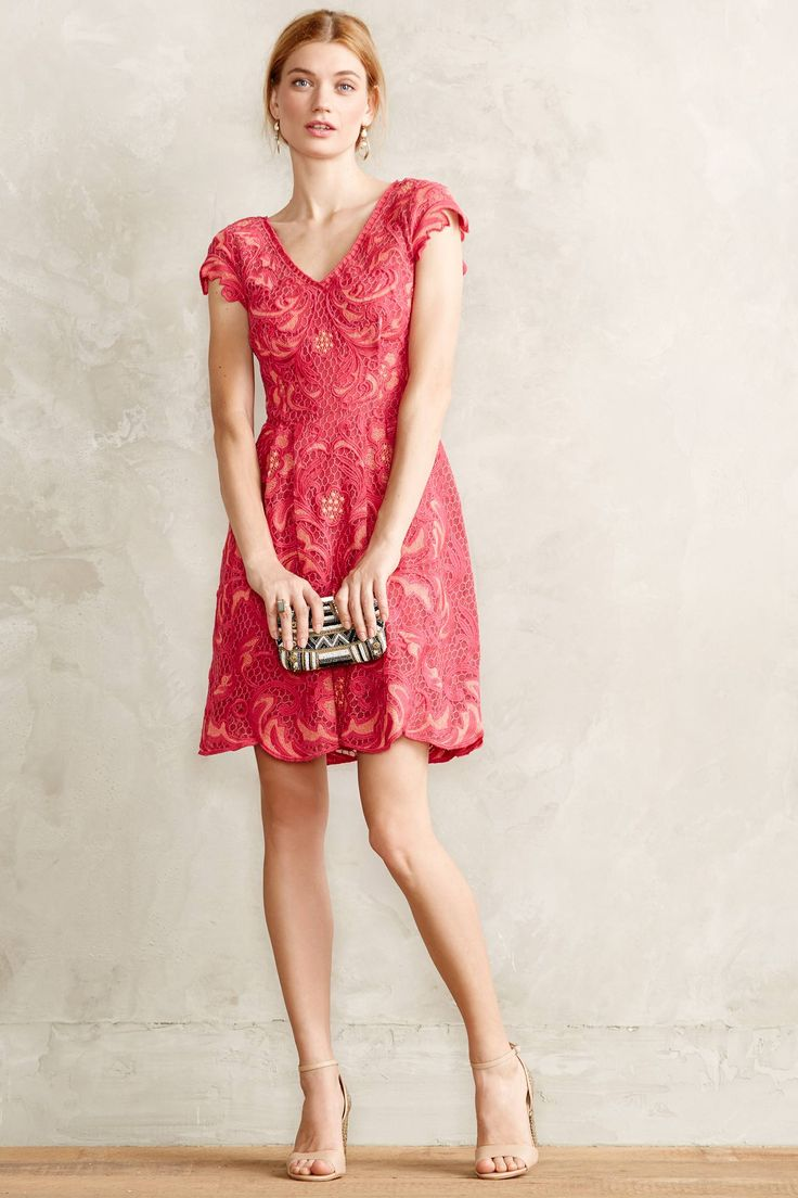 Red motif lace dress wedding guest dress for Guest of wedding dresses
