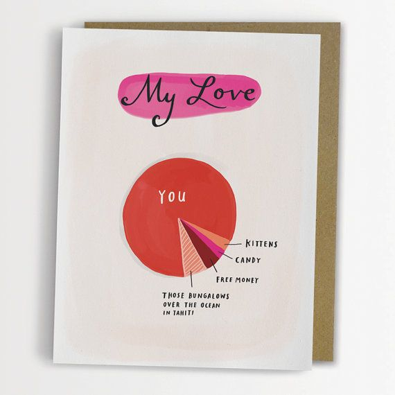 "I really am obsessed with all of these cards.  ""My Love"" pie chart:  1. Kittens 2. Candy 3. Free Money 4. Those bungalows over the ocean in Tahiti 5. You"